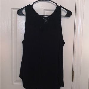 Laced black sleeveless top